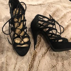 Strappy Lace Up Black Suede Sandals